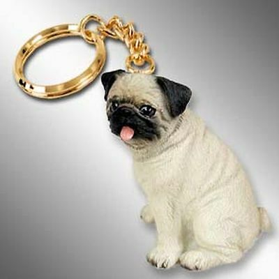 PUG Fawn Brown Dog Tiny One Resin Keychain Key Chain Ring