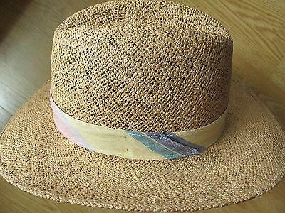 Vintage Bailey of California Straw Pastel Banded Cowboy Hat Size 6 3/4 USA 54 cm