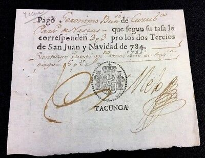 Ecuadorian Naval Customs Form 1784