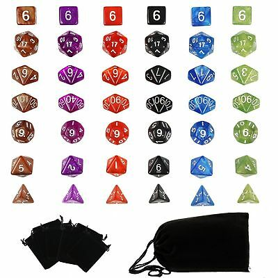 42pcs 6 Set Polyhedral RPG Game Dungeons & Dragons Dice 6 Colors 4D-20D  &7 Bags