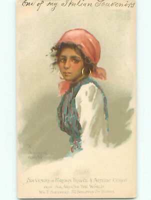 Pre-1907 PMC - PRIVATE MAILING CARD - PRETTY GIRL FROM VENICE ITALY k6885
