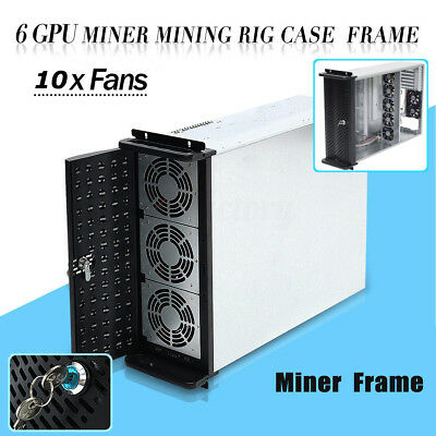 6 GPU 4U Rackmount Mining Server Case with 10 FANS Rsiers Frame Rig