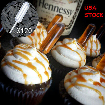 120PCS 4ml Plastic Squeeze Transfer Pipettes Chocolate Cupcakes Strawberries