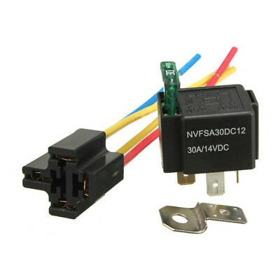 Durable 12V Relay 4 pin Black w/ Socket Base/Wires/fuse Included 30A Amp SPST