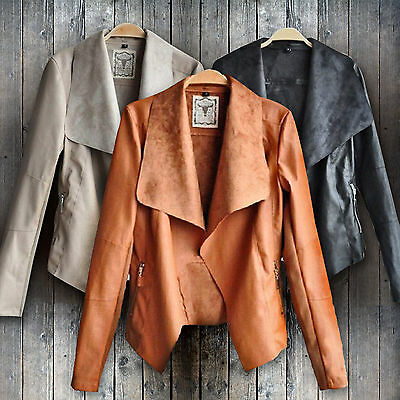 Women Faux Leather Lapel Zipper Slim Biker Coat PU Cropped Jacket Blazer Outwear
