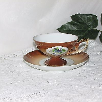 Shafford Footed Cup & Saucer Brown Gold Floral Japan Mij Unique Vintage Nice!