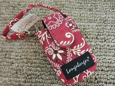 Longaberger Red BANDANNA  Wristlet CLUTCH or Phone Case Holder NWT