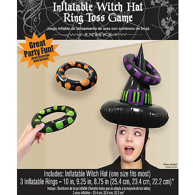 Halloween Inflatable Witch Hat Ring Toss Party Game Halloween Activity Family Fu