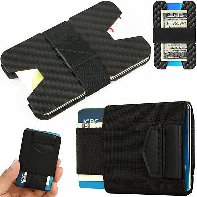 Slim Carbon Fiber Credit Card Holder RFID Non-scan Metal Wallet Money Clip Purse