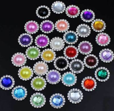 10Pcs Assorted Rhinestone Flower Pearl Buttons Flatback Embellishment Craft DIY
