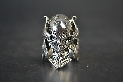 Collectible Vintage China Old Tibet Silver Skull King Decor Noble Warrior Ring