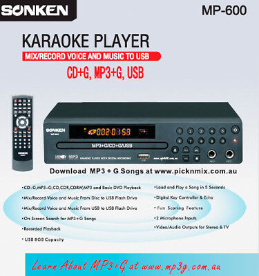 Mp600 Karaoke Hot Deal 1, Mics, 177 Songs! Exclusive Offer! Aust 2 Yr Warranty