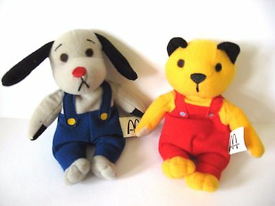 SOOTY & SWEEP Soft Toy Set / McDonalds Beanie Toys 2001