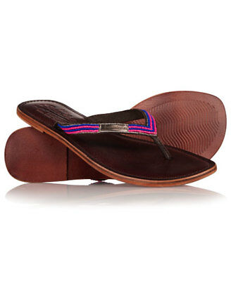 New Womens Superdry Core Toe Post Sandal Mid Brown