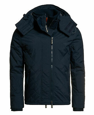 New Mens Quilted Hooded Polar Windcheater French Navy