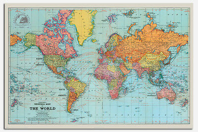 Retro General Map Of The World Poster New - Maxi Size 36 x 24 Inch