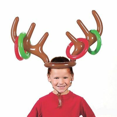 Inflatable Reindeer Christmas Hat Antler Ring Toss Holiday Party Game Toys #zx