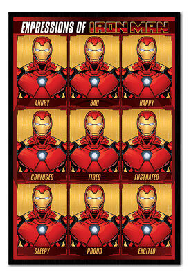Framed Avengers Expressions Of Iron Man Poster New