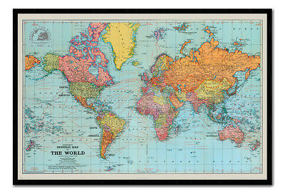Framed Retro General Map Of The World Poster New