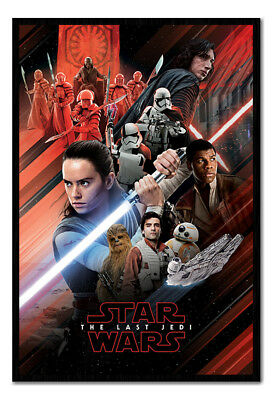 Framed Star Wars The Last Jedi Red Montage Poster New