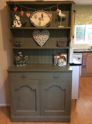 Vintage Oak Welsh Dresser Painted In Chateau Grey By Annie Sloan Distressed