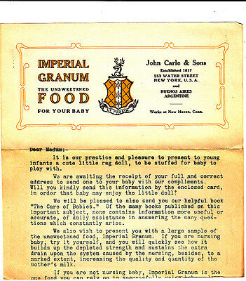 Imperial Granum Baby Food John Carle & Sons Typewritten Letter New York City