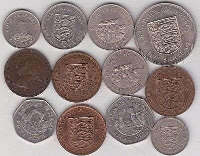 12 Jersey Base Metal Coins Dated 1871 To 1997 In Fine To Near Mint Condition