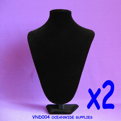 RELIABLE 2X Necklace Display Bust Stand-PADDED-32cm-Black Velvet | AUSSIE Seller