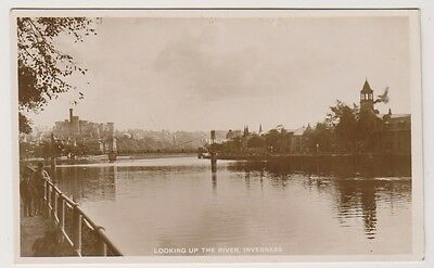 Inverness-shire postcard - Looking up the River, Inverness - RP