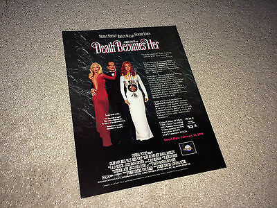 DEATH BECOMES HER Movie Promo Flyer Press Sheet 1992 Bruce Willis Comedy Horror