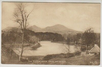 Roxburghshire postcard - The Eildon Hills from Dryburgh