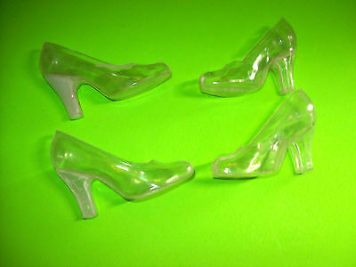 4 Vintage Clear Hard Plastic Hong Kong Figural High Heel Shoes Candy Container?