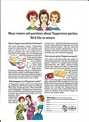 1965 Tupperware Parties Many Women Ask Questions Ad