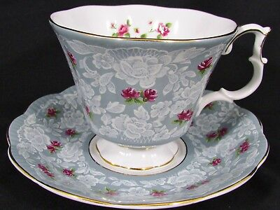 Royal Albert True Love Pink Roses Lace Gray Tea Cup And Saucer