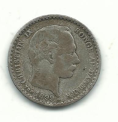 Very Nicely Detailed 1899 Denmark Silver 10 Ore-Dec135