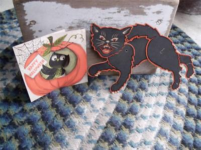 2 Sweet Vintage Paper Litho Halloween Cards Decorations Hinged Black Cat & Owl