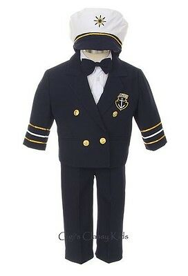 New Boys Navy Blue Sailor Nautical Suit Set with Hat Easter Party Wedding 077NN