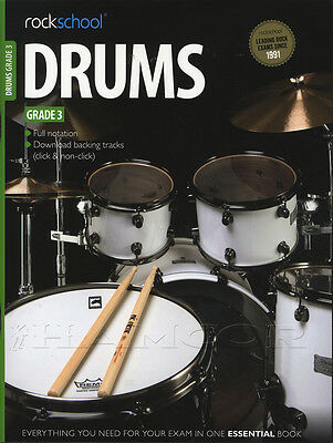 Rockschool Drums Grade 3 2012-2018 Exam Sheet Music Book with Audio Access