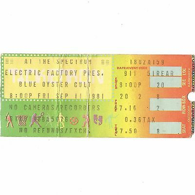 BLUE OYSTER CULT & FOGHAT & WHITFORD/HOLMES Concert Ticket Stub 9/11/81 PHILLY