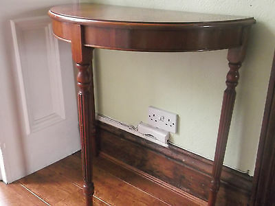 Lovely Regency Style Yew Wood 'D' Shaped Hall Table