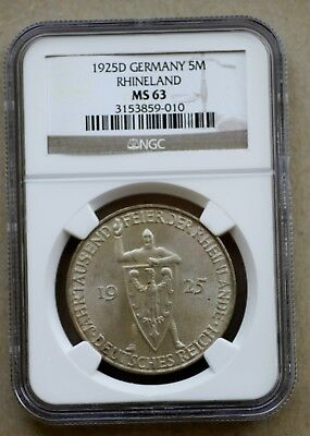 1925 D Germany, Rhineland, 5 Mark, Silver, NGC MS63