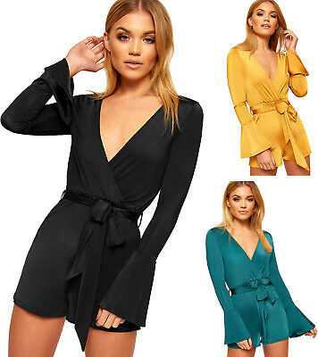 Womens Plunge V-Neck Wrapover Long Bell Sleeve Belted Top Ladies Playsuit 6-12