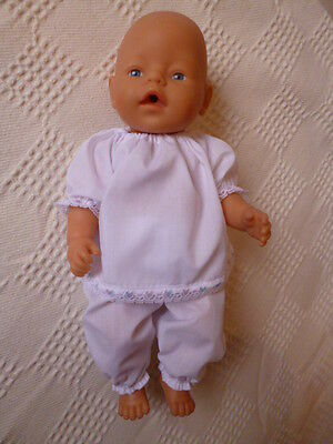 BJB dolls clothes, White pyjamas PJs trimmed with lace outfit 2pcs fit baby born