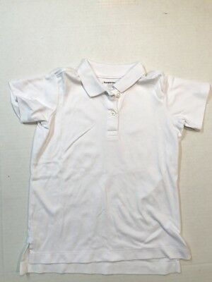 LANDS' END Little Girl's Size L 6X/7 White SS Cotton Knit Polo Top Shirt NEW