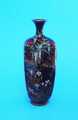 Fine Antique Meiji  Period Japanese Cloisonne Vase By Master Craftsman Signed