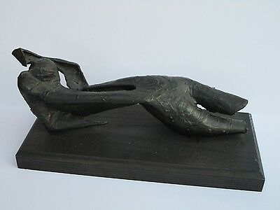 Finest Mid Century Bronze Metal Sculpture Abstract Cubism Expressionism Nude Vtg