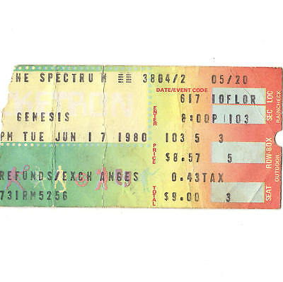 GENESIS Concert Ticket Stub PHILADELPHIA PA 6/17/80 THE SPECTRUM DUKE TOUR Rare