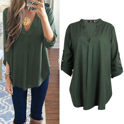 ISASSY Women Loose T shirt Blouse lady Casual Long Sleeve plus size Tops Shirt