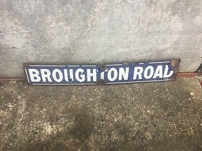 Vintage Enamel Road Sign  Broughton   Road  Could Be Rare