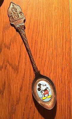 Silverplate & Enamel Bowl Souvenir Spoon Walt Disney World Mickey By Dai Holland